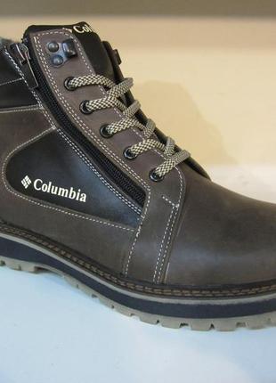 Зимние мужские ботинки на шнурках и двух молниях кожанные в ст...