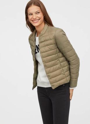 Куртка хаки деми легкая стеганая h&m light jacket