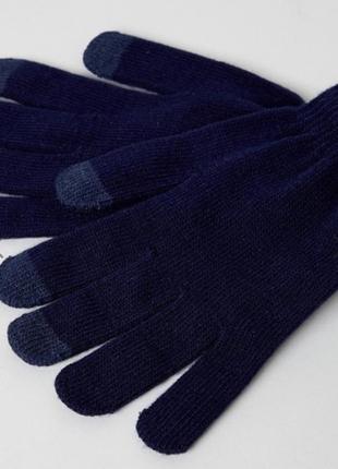 Темно-синие перчатки svnx с отделкой для сенсорных устройств !