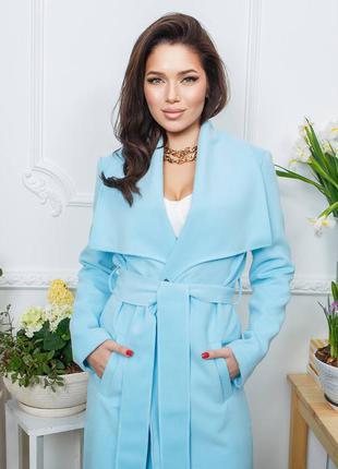 Пальто женское кашемир голубое