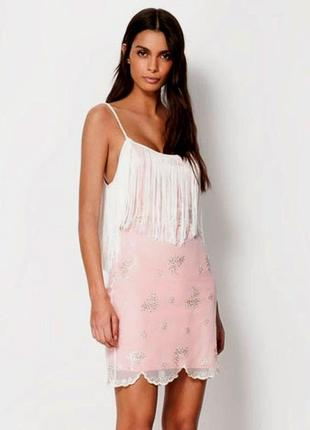 Коктейльное нарядное платье-сетка с бахромой