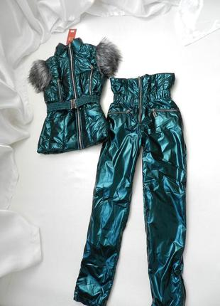 Тёплый костюм на флисе штаны  высоченная посадке  мех эко лиса...