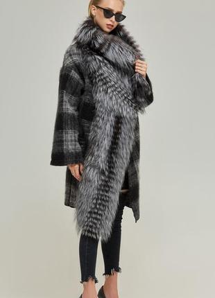 🔥хит цена🔥тёплое пальто в клетку натуральная шерсть+мех черноб...