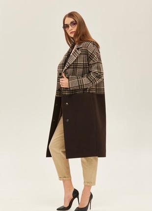 Пальто из натуральной шерсти шоколад+беж