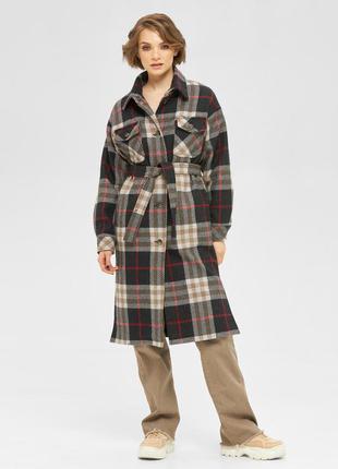 Тёплая рубашка, пальто на подкладке в клетку шоколад