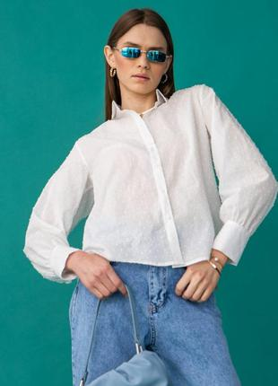Хлопковая рубашка, фактурная ткань молоко