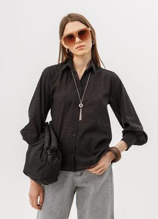 Хлопковая рубашка, фактурная ткань чёрная