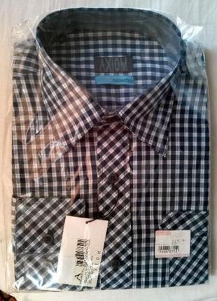 Рубашка мужская в клетку, черно-белая 40 разм.