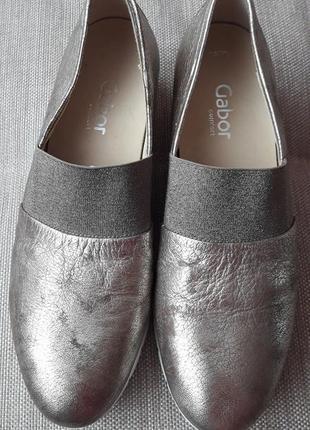 Vip! золотистые кожаные  лоферы туфли  gabor 40 размер