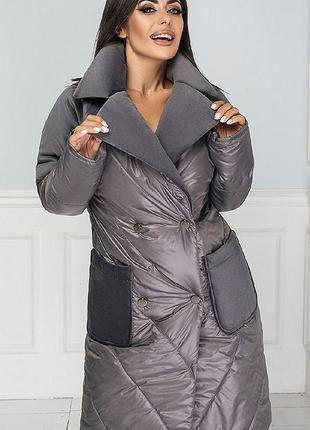 Пальто 334060-2 серый осень