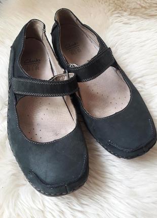 Кожаные туфли мокасины clarks 38 размер