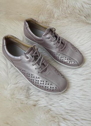 Кожаные туфли с перфорацией hotter 38.5 размер