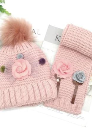Комплект шапка шарф вязка мех помпон