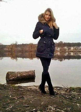Парка,  куртка  синяя женская зимняя. уникальная. tom tailor