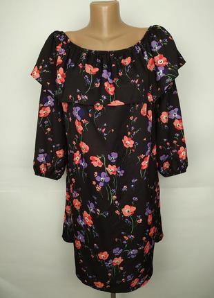 Платье новое летнее красивое в маки с открытыми плечами uk 12/...