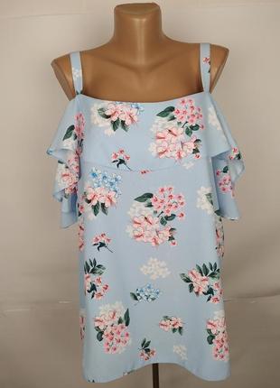 Блуза стильная голубая в цветы большой размер george uk 20/48/3xl