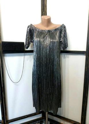 Платье коктейльное вечернее новогоднее серебро плиссе с открыт...