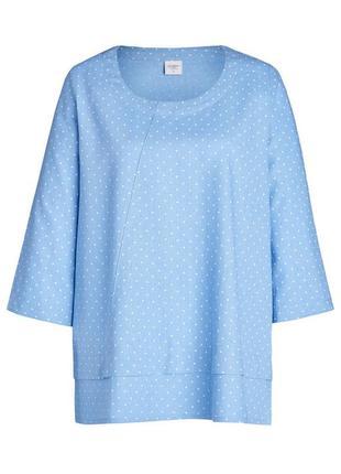 Блуза кофта топ голубой лен льняная блуза