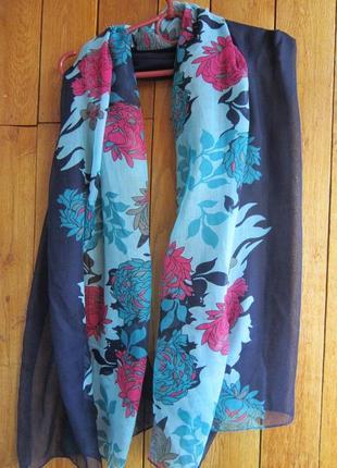 Большой шарф- палантин из тонкого хлопкового полотна