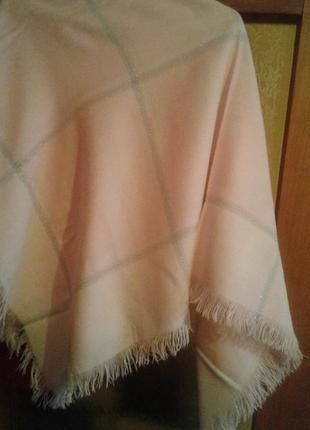 Большой платок, розовый с молочным, с полосками люрекса