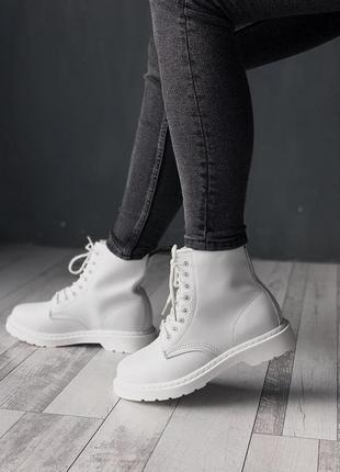 Dr. martens 1460 mono white женские зимние ботинки с мехом бел...