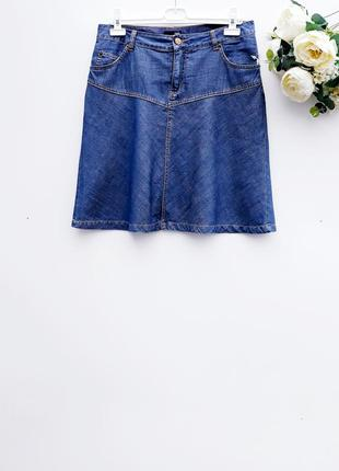 Джинсовая юбка качественная юбка миди