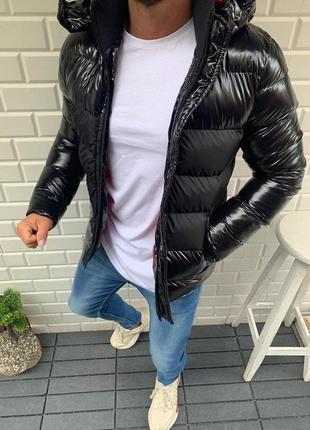 Мужская зимняя куртка с капюшоном чёрная