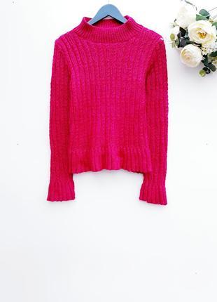 Красивый теплый свитер с горлом цвет фукции яркая кофта
