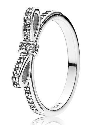 Кольцо серебряное пандора бант бантик с камнями серебро проба ...