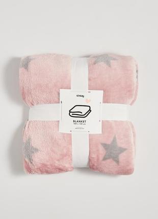 Новый розовый плед пудра одеяло покрывало польша серый узор зв...