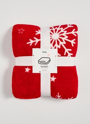 Новый мягкий красный плед одеяло покрывало снежинка снег звезд...