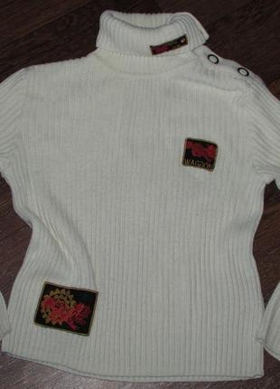 Брендовый бело-желто-оттеночный теплый свитер waggon paris ори...
