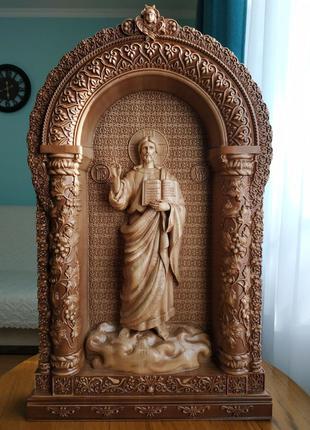 Икона деревянная, резная Господа Иисуса Христа Спасителя
