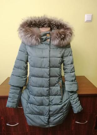 Пальто с натуральным мехом р м