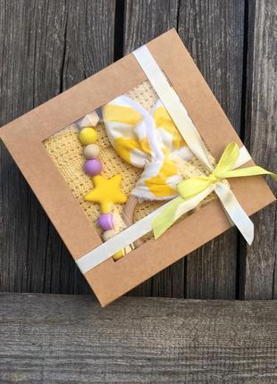 Подарочный набор на выписку, крестины, плед, подарунковий набір