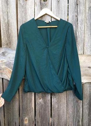 Блуза блузка на запах изумрудная блузка
