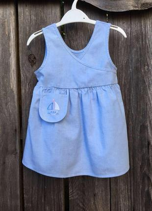 Легкое летнее платье на девочку 1 год.