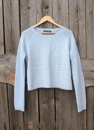 Укороченный голубой свитер, свитер оверсайз, джемпер
