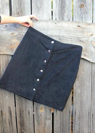 Тренд замшевая юбка, юбка на пуговицах