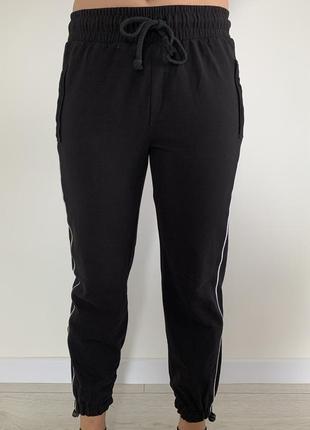 Спортивні штани, чорні штани з  білими лампасами, черные спорт...