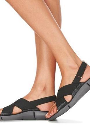 Сандалии женские кожаные нубук черные clarks tri chloe - black...