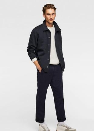 Укороченные синие брюки zara