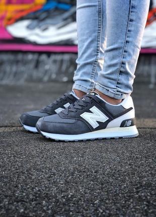 New balance 574 grey женские демисезонные кроссовки серые