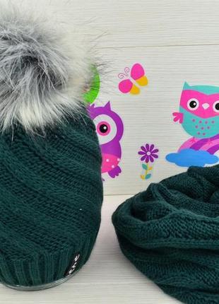 Комплект - шапка и хомут для девочки