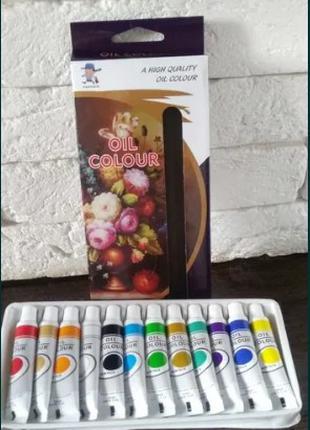 Краски масляные в тубах для рисования 12 цветов