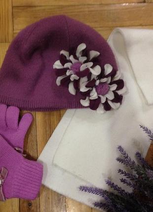Sale!!! стильная шапка с объёмным цветком из трикотажа + подарок)