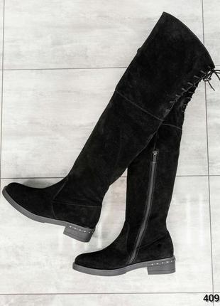 ❤ женские черные осенние демисезонные высокие сапоги ботфорты ...