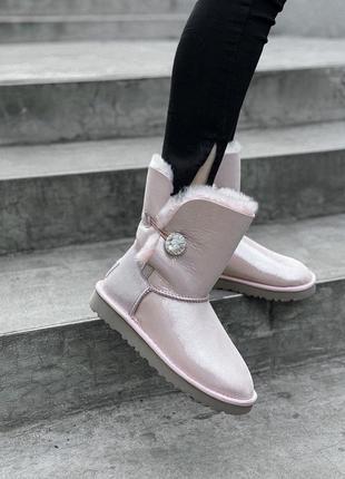 Ugg bailey button pink натуральные женские зимние сапоги угги ...