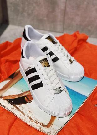 Шикарные женские чёрные кроссовки adidas superstar white 🖤 😍