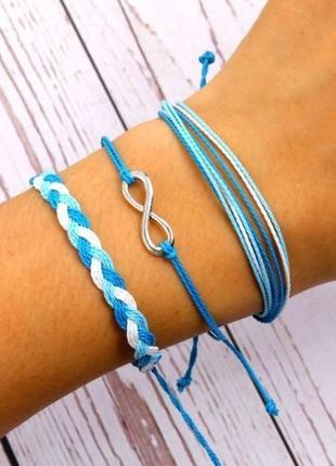 Набор браслетов нежного голубого цвета 3 штуки